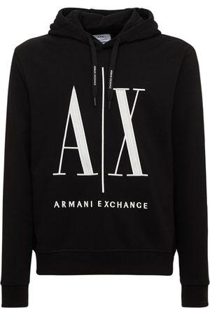 Armani Logo Printed Cotton Jersey Hoodie