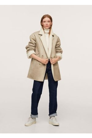 MANGO Faux shearling-lined lapel coat /pastel grey