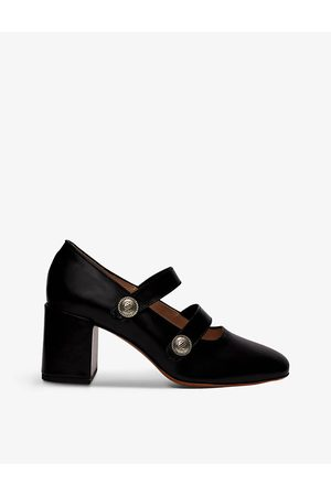 Maje Women Heeled Pumps - Flirte square-toe leather Mary Jane heels