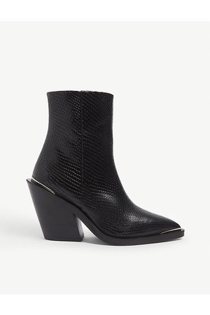 The Kooples Women Ankle Boots - Python-effect heeled leather cowboy boots