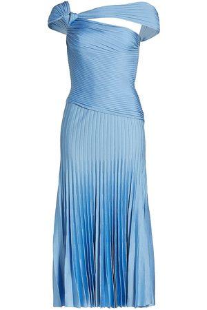 ST. JOHN Women Asymmetrical Dresses - Asymmetrical Pleated Midi-Dress