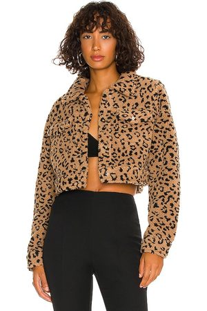 MORE TO COME Amina Cropped Jacket in Tan.