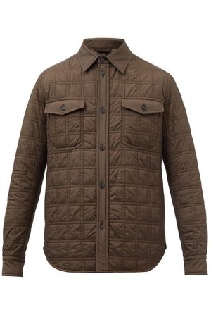 BRIONI Patch-pocket Quilted-shell Overshirt - Mens - Dark