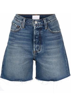 Boyish Jeans Women Shorts - Raw-edge high-waisted denim shorts