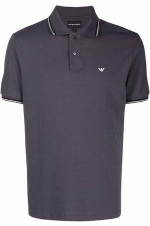 Emporio Armani Men Polo Shirts - Stripe-trim short-sleeve polo - Grey