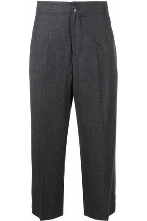 GENTRYPORTOFINO Cropped leg wool trousers - Grey
