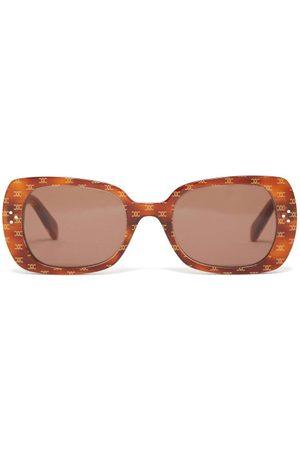 Céline Monogram-print Butterfly Acetate Sunglasses - Womens - Light