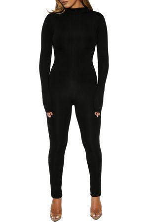 Naked Wardrobe Ribbed Mock Neck Jumpsuit