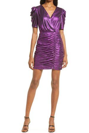Adelyn Rae Metallic Puff Sleeve Cocktail Minidress