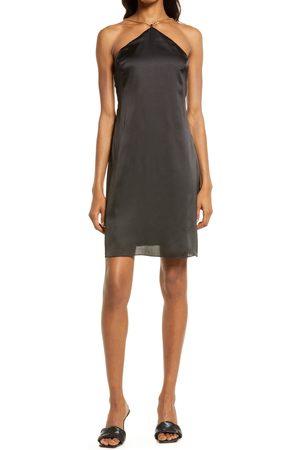 AREA Shine Halter Minidress