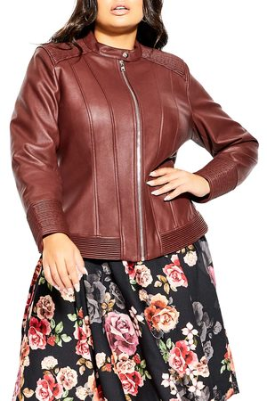 City Chic Ribbed Faux Leather Biker Jacket