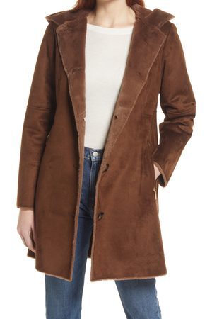 Gallery Hooded Faux Shearling Long A-Line Coat