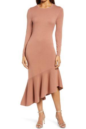 Halogen Halogen(R) Asymmetrical Long Sleeve Sweater Dress