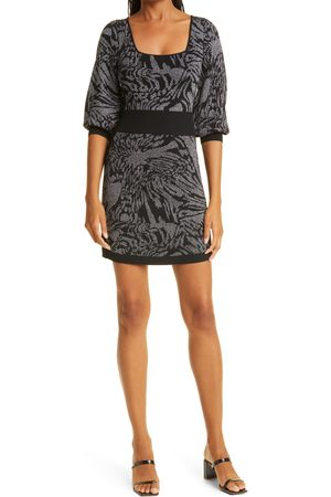 NICOLE MILLER Cheetah Swirl Double Knit Metallic Jacquard Minidress