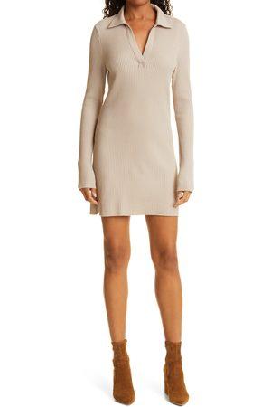 THE RANGE Jumbo Stark Thermal Long Sleeve Polo Minidress
