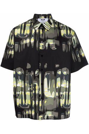 Msgm Men Short sleeves - Abstract pattern-print short-sleeve shirt
