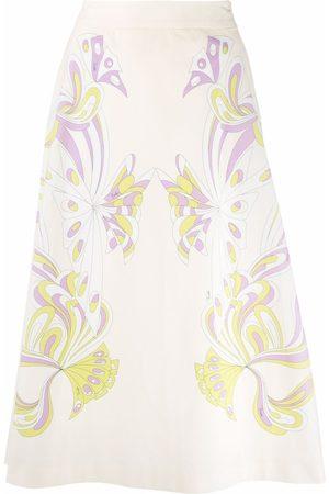 Emilio Pucci Women Printed Skirts - Farfalle-print A-line midi skirt - Neutrals