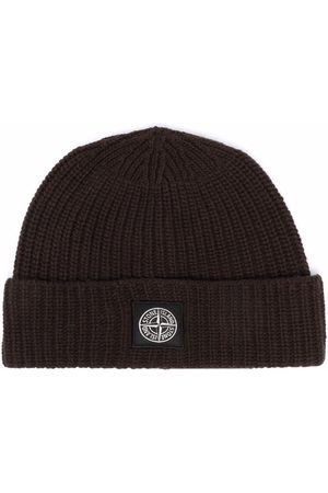 Stone Island Logo-patch ribbed wool beanie