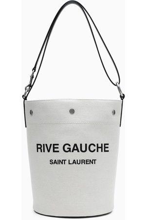Saint Laurent Black/white Rive Gauche medium bucket bag