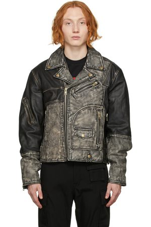 Diesel Black Faded Conway Leather Jacket
