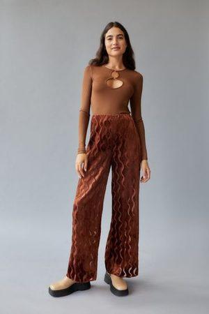 Urban Women Wide Leg Pants - Remnants Wide Leg Squiggle Burnout Pant