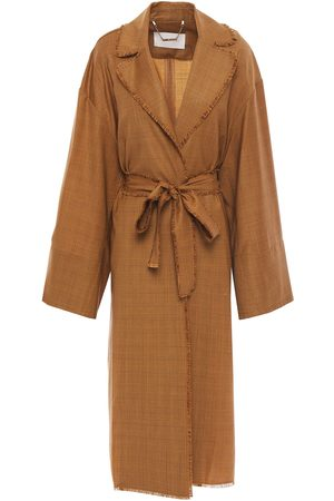 ZIMMERMANN Woman Frayed Prince Of Wales Checked Wool Trench Coat Camel Size M/L