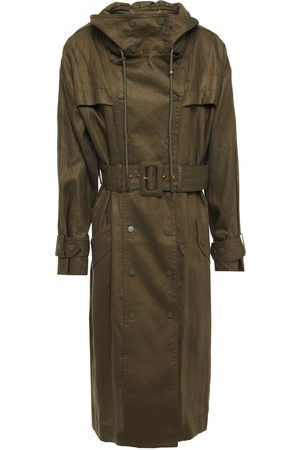 ZIMMERMANN Woman Double-breasted Linen Hooded Trench Coat Army Size 0