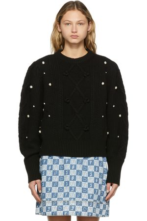 SJYP Wool Cable Knit Pearl Detail Sweater