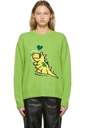 SJYP Women Sweatshirts - SSENSE Exclusive Green Sambypen Edition Graphic Crewneck Sweater