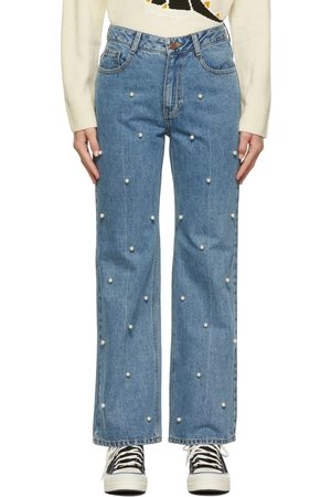 SJYP Faux-Pearl Detail Jeans
