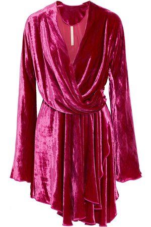 MARIA LUCIA HOHAN Woman Nola Asymmetric Crushed-velvet Mini Wrap Dress Fuchsia Size 36