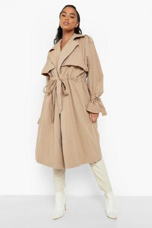 Boohoo Womens Tie Waist Longline Trench Coat - - 4