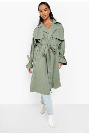 Boohoo Women Trench Coats - Womens Tie Waist Longline Trench Coat - - 4