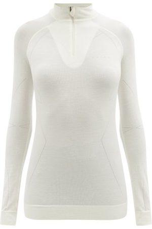Falke High-neck Quarter-zip Wool-blend Thermal Top - Womens - Ivory