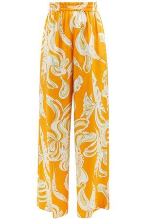Emilio Pucci Women Wide Leg Pants - High-rise Printed Silk-satin Wide-leg Trousers - Womens - Print