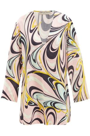Emilio Pucci Women Printed Dresses - Printed V-neck Long-sleeved Cotton Dress - Womens - Navy