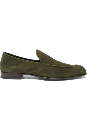 BRIONI Men Loafers - Almond-toe Suede Loafers - Mens - Olive