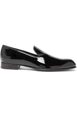 BRIONI Almond-toe Patent-leather Evening Loafers - Mens