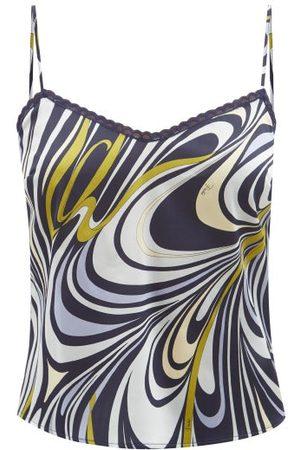 Emilio Pucci Vortici-print Silk-blend Satin Camisole Top - Womens - Navy