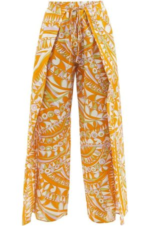 Emilio Pucci Waist-tie Abstract-print Voile Trousers - Womens - Print