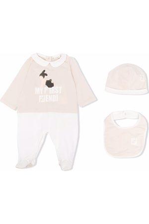 Fendi Bodysuits & All-In-Ones - Logo print babygrow set - Neutrals